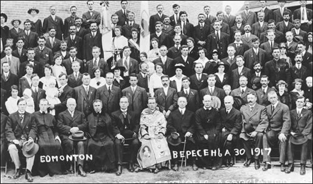 Image - Bishop Nykyta Budka among Ukrainian Catholics in Edmonton in 1917.
