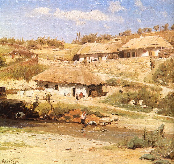 Image - Volodymyr Orlovsky: Peasant Houses on a Summer Day.