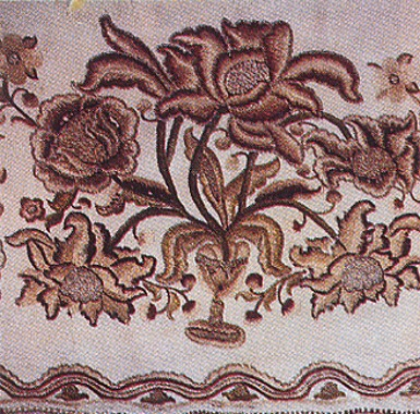 Image -- Ornament: flower and vase motifs embroidered with silk and metallic thread on linen (18th-century Slobidska Ukraine).