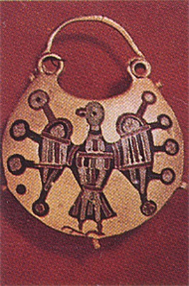 Image -- Ornament: stylized bird on a pendant earring (gold and enamel, 12th- to 13th-century Kyiv).