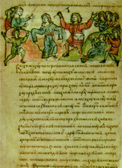 Image - Pagan feasts depicted on an illumination from the Rus' Chronicle.
