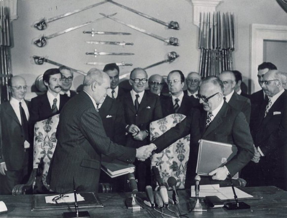 Image - Signing of one of the Paris Peace Treaties of 1947.