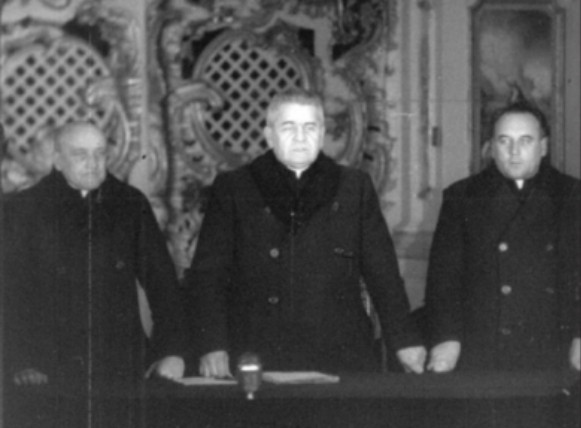 Image - A. Plevetsky, Havryil Kostelnyk, and Mykhailo I. Melnyk during the 1946 Lviv sobor.