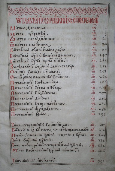 Image -- The Table of Contents in Petro Mohyla's Sluzhebnyk i Trebnyk (1632 edition) (held at the Vernadsky National Library in Kyiv).
