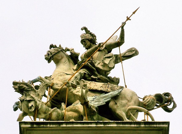 Image - Johann Pinzel: a sculpture of Saint George slaying the Dragon.