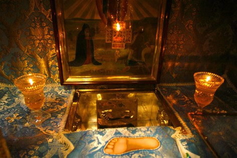 Image -- A 'footprint' of the Mother of God at the Dormition Cathedral (Pochaiv Monastery),