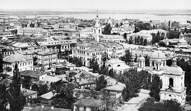 Image - Panorama of the Podil district in Kyiv with the Kyiv Epiphany Brotherhood Monastery (center; 1900s photo).