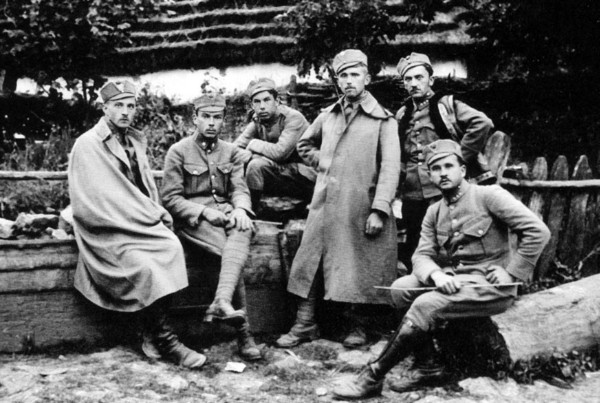 Image - The Press Office of the Ukrainian Sich Riflemen: (left to right) R. Kupchynsky, I. Ivanets, V. Orobets, V. Dzikovsky, L. Lepky, T. Moiseiovych.