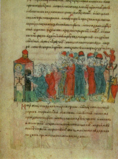 Image - Prince Ihor concludes a peace treaty with Byzantium (an illumination from the Rus' Chronicle).