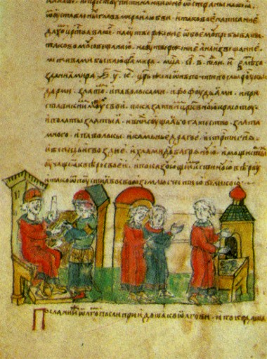 Image -- Prince Oleh concludes a peace treaty after his victory over Byzantium (an illumination from the Rus' Chronicle).