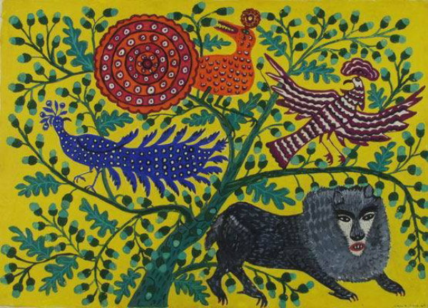 Image - Mariia Pryimachenko: Animals Visiting the Lion (1963).