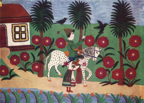Image - Mariia Pryimachenko: Halia and Cossack (1947).