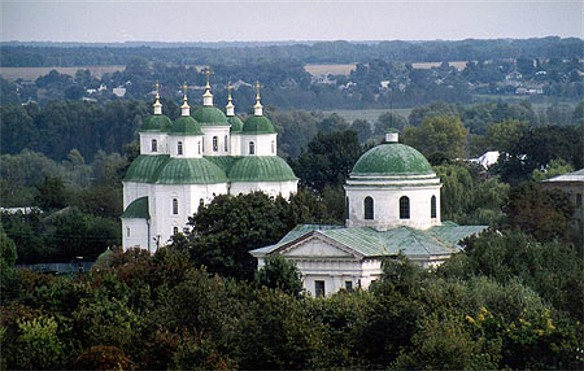 Image - Pryluka: panorama of the Transfiguration Cathedral and the Church of the Nativity.