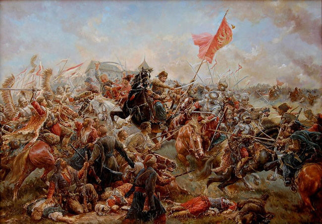 Image -- The Battle of Pyliavtsi (paining by M. Dobriansky).