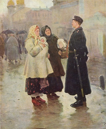 Image -- Mykola Pymonenko: Meeting a Compatriot (1908).