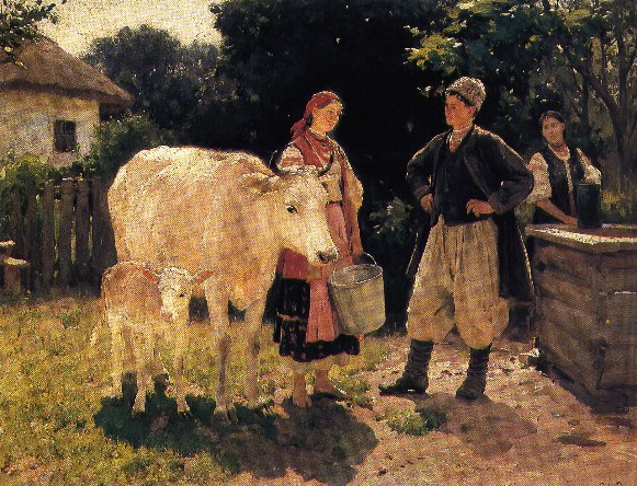Image -- Mykola Pymonenko: Young People (At the Well) (a.k.a. Rivals) (1909).
