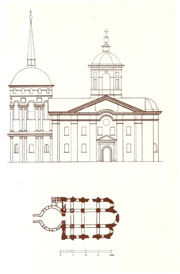 Image - The Pyrohoshcha Church of the Mother of God in Kyiv (floor plan and southern facade).