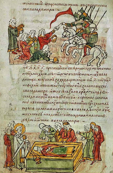Image - A page from the Radziwill Chronicle for the year 1176.