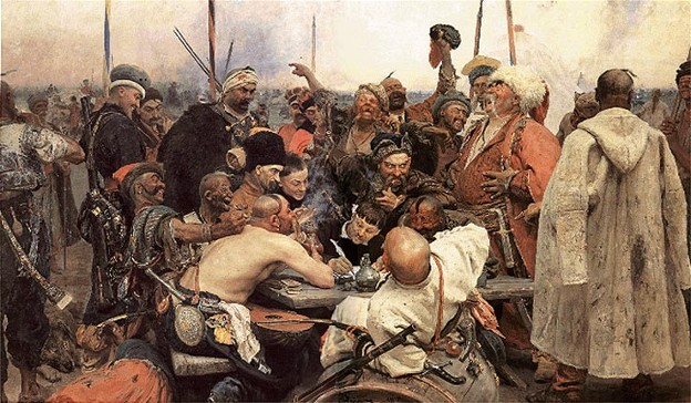 Image - Ilia Repin: The Zaporozhian Cossacks Write a Letter to the Turkish Sultan (1880-91).