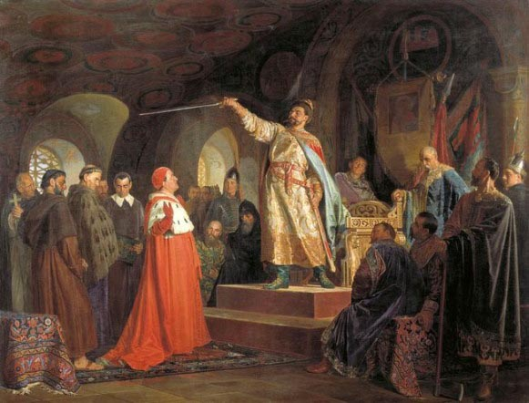 Image - Prince Roman Mstyslavych Receives Envoys from Pope Innocent III (painting by M Nerovlev).