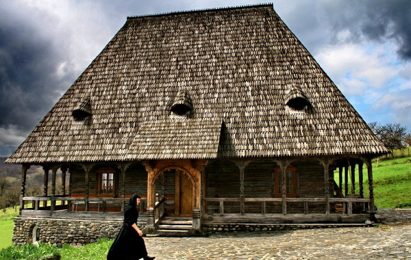 Image -- A Romanian type wooden church in the Maramures region.