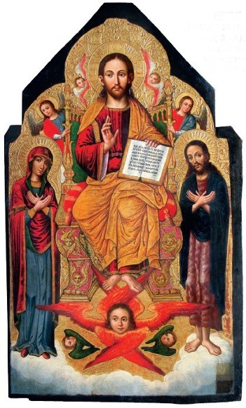 Image - Ivan Rutkovych: icon Deesis (Christ Enthroned) from the Zhovkva iconostasis (ca. 1697-99).