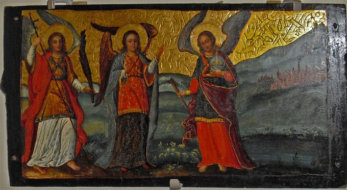 Image - Ivan Rutkovych: icon Three Angels from the Zhovkva iconostasis (ca. 1697-99).