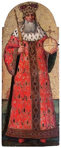 Image -- Ivan Rutkovych: an icon of Saint Volodymyr the Great (ca. 1696-99).