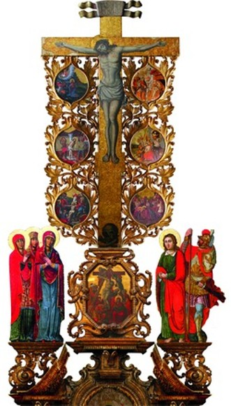 Image - Ivan Rutkovych: the Crucifixtion with scenes of Christ's Passion from the Zhovkva iconostasis (ca. 1697-99).