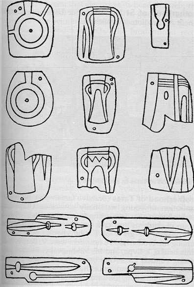 Image - Moulds for casting bronze objects from a settlement of the Sabatynivka culture , 1200 to 800 BC; drawing according to A. Dobrovolsky, 1950.