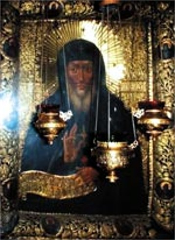 Image -- Icon of Saint Anthony of the Caves in the Near Caves of the Kyivan Cave Monastery.