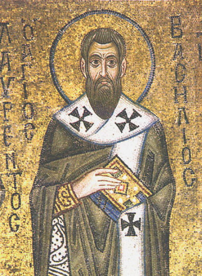 Image - Saint Basil the Great (mosaic at the Saint Sophia Cathedal in Kyiv).