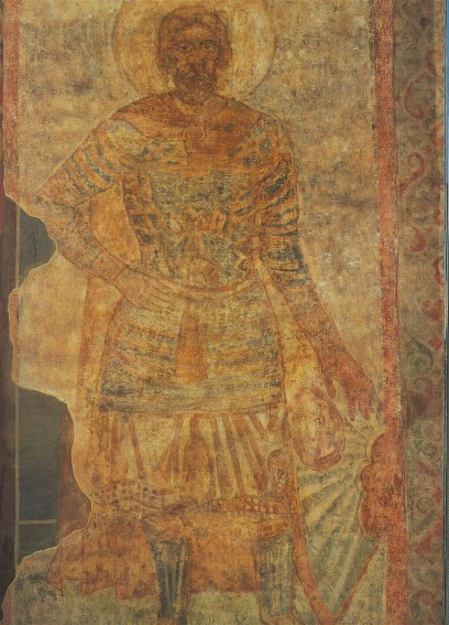 Image - Saint Cyril's Church: The Saintly Warrior fresco (12th century).