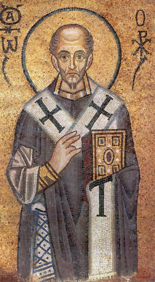 Image - Saint John Chrysostom (mosaic at the Saint Sophia Cathedal in Kyiv).