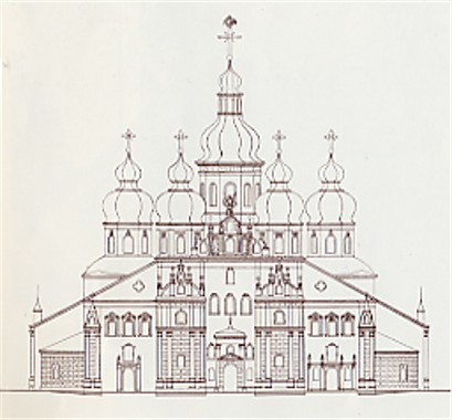 Image -- Diagram of the facade of the Saint Michael's Church in Kyiv.