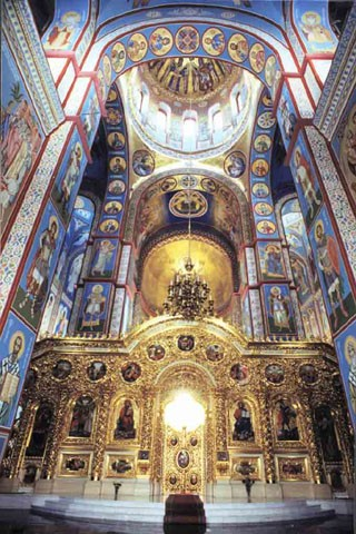 Image -- Saint Michael's Church in Kyiv: central nave and main iconostasis.