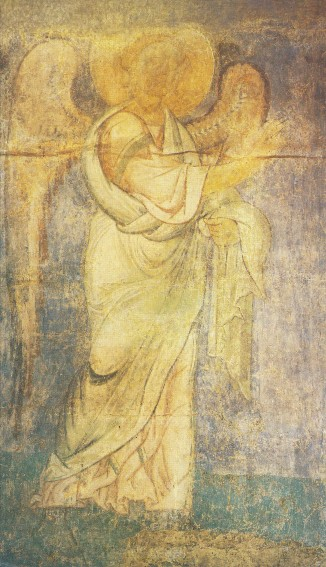 Image -- Saint Michael's Golden-Domed Monastery: The Annunciation fresco (fragment) (12th century).