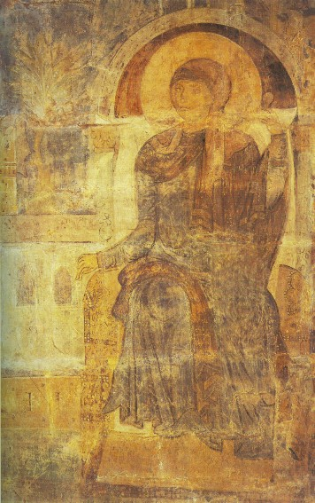 Image - Saint Michael's Golden-Domed Monastery: The Annunciation fresco (fragment) (12th century).