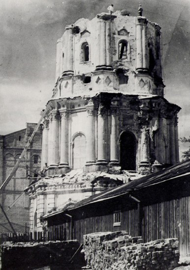 Image - Saint Nicholas's Military Cathedral in Kyiv bell tower during its destruction by the Soviet authorities in 1934.