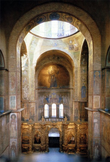 Image - Saint Sophia Cathedral in Kyiv: interior with the view of the Orante mosaic.