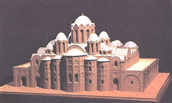 Image -- A reconstruction model of the original form of the Saint Sophia Cathedral in Kyiv.