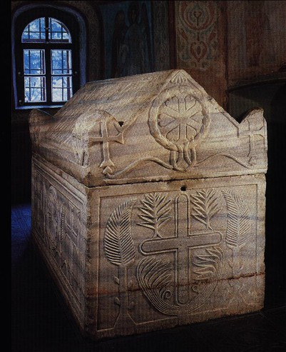 Image -- Yaroslav the Wise's sarcophagus at Saint Sophia Cathedral in Kyiv.
