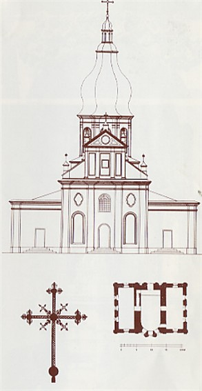 Image - Saint Nicholas's (Small) Monastery in Kyiv: floor plan and the main facade (1840s drawing).