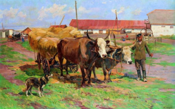 Image - Mykola Samokysh: A Cart with Oxen.
