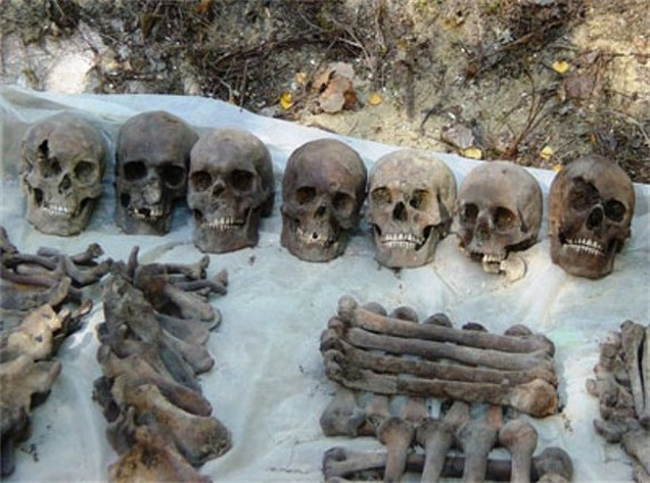 Image -- Bones of prisoners executed by the NKVD in November 1937 in Sandarmokh, Karelia region, RFSSR.