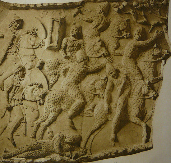 Image - Sarmatians fleeing from Roman cavalry (a bas-relief on the Trajan column).