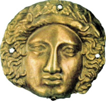 Image - Scythian art: Gold head of  Dionysos from the Chortomlyk kurhan.