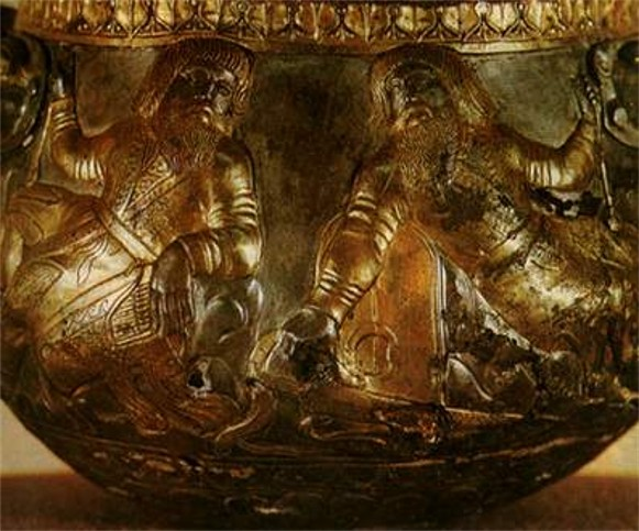 Image -- Detail of a Scythian bowl (4th cent BC) found in the Haimanova Mohyla kurhan.