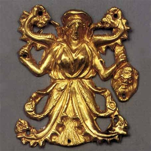 Image -- A gold ornament with a Scythian goddess Apa from the Kul Oba kurhan.