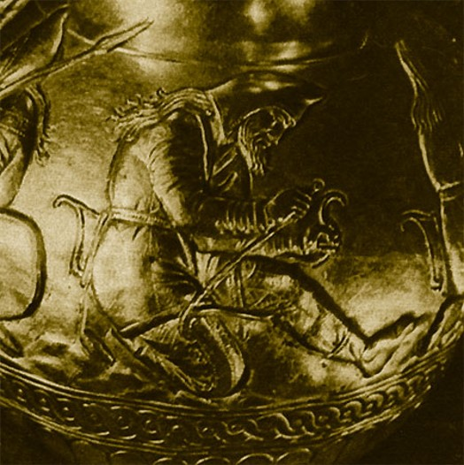Image - A a detail of a Scythian gold bowl from the Kul Oba kurhan.